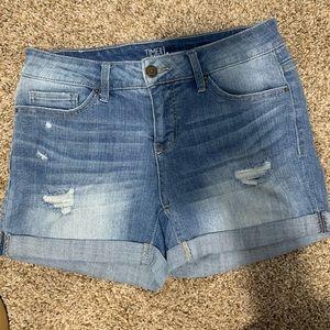 Mid Rise Light Blue Jean Shorts